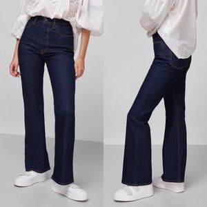 Levis Ribcage Boot Jeans Highest Rise Blue Size 24 Button Fly Denim Cotton Dark